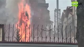 Забросали фаерами и яйцами: пожар на территории консульства РФ в Харькове