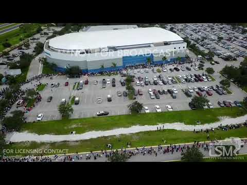 9-9-2017 Estero, FL - aerial video of long lines at shelter