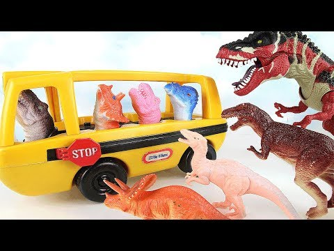 Thumbnail: Dinosaurs Attack Dino School Bus! Learn Names of Dinosaur With Finger Toys~ Fun Rex Toy 공룡 토이