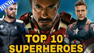 Top 10 Most Famous Superheroes of All Time | Marvel | Top 10 Superheroes | Explained in Hindi