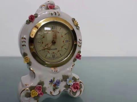 DRESDEN Porcelain Mantel TOP Clock China Germany Vintage Shelf