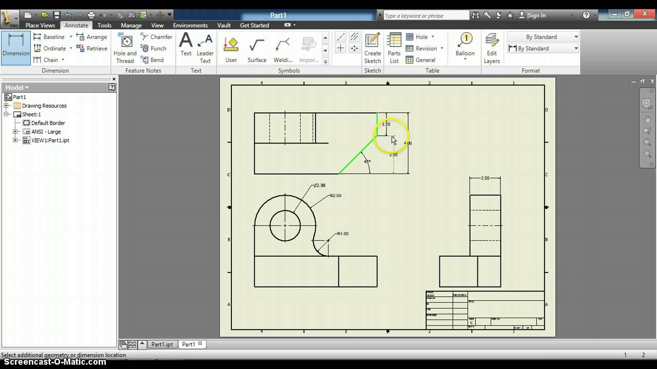 Dimensioning Inventor Drawings Youtube