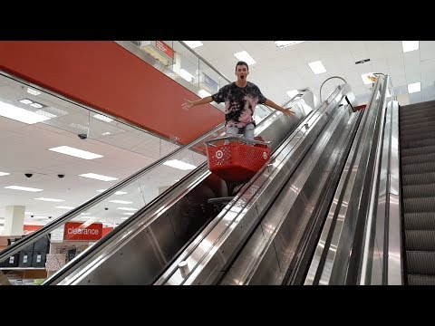 SHOPPING CART SURFING ON ESCALATORS AT TARGET