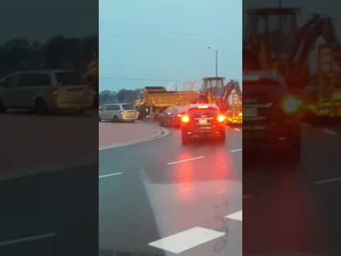 Accident in Cambridge ON in roundabout