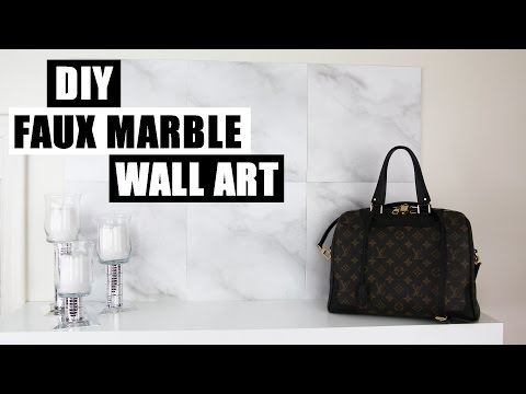 DIY FAUX MARBLE WALL ART DECOR | Cheap & Easy DIY Marble Decor | How To Use Faux Marble Tiles