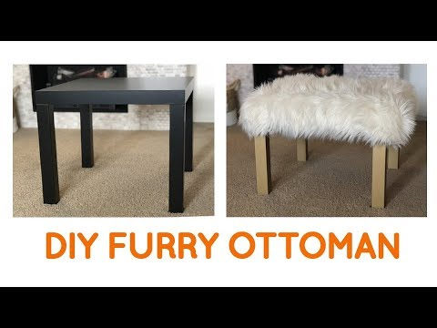Small Living Room ideas: DIY furry Ottoman and more using an IKEA LACK table (IKEA hack)