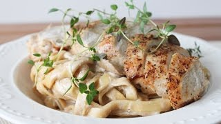 How To Make Fresh Pasta In A Mushroom Sauce Topped With Chicken - By One Kitchen Episode 68