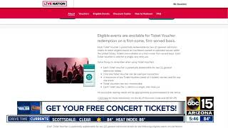 Get free concert tickets from Ticketmaster/Live Nation