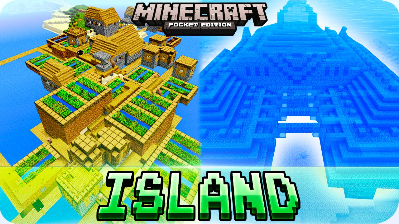 Minecraft PE 11.11.11 Seeds - ISLAND with OCEAN MONUMENT and 11 VILLAGES -  11.11.11 MCPE