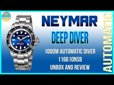 Really Deep Diver!   Neymar 1000m Chinese Microbrand Automatic Diver 116610NSB Unbox And Review