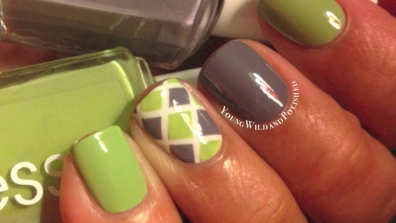 Diamond Nail Tutorial--Easy Striping Tape Nail Art - YouTube