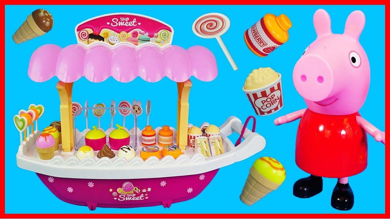 佩佩豬小豬佩奇的蛋糕甜點販賣車,洋娃娃買雪糕