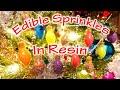 Using Edible Sprinkles in Resin Christmas Lights Ornaments