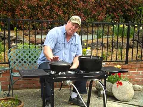 Frying En On My Bayou Clic Dual Burner Outdoor Patio Stove