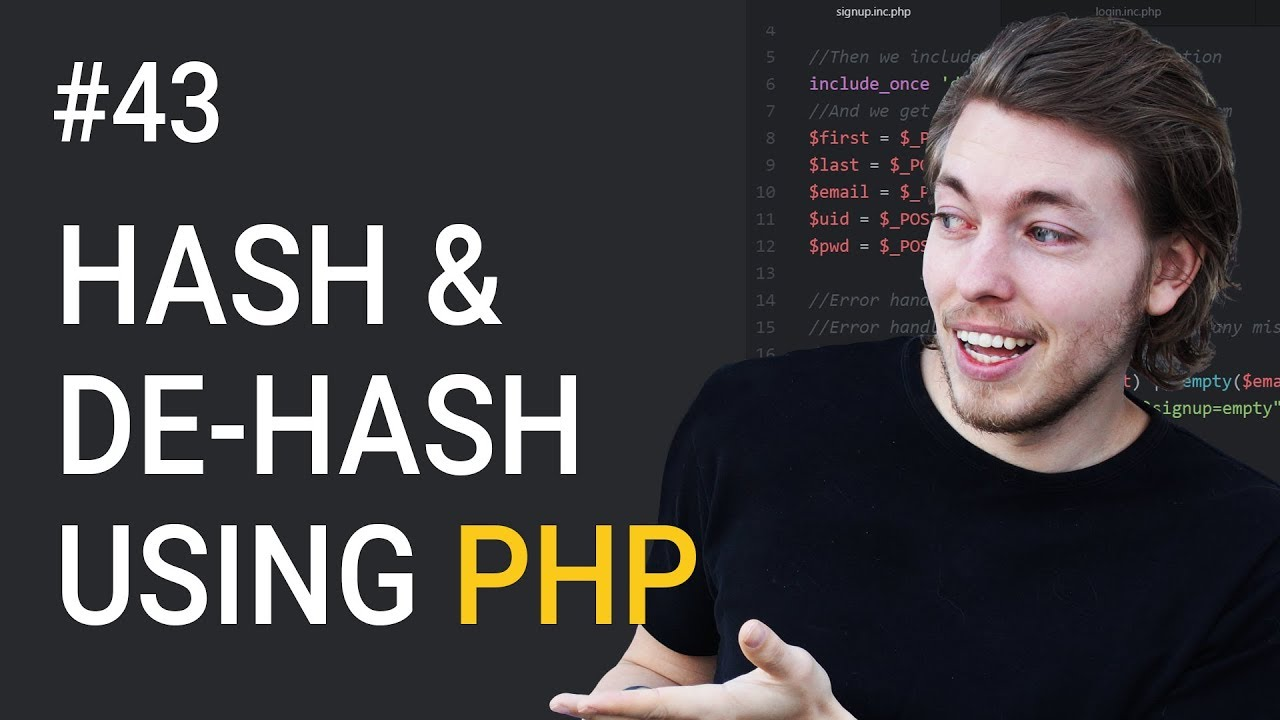 43: Hashing and de-hashing data using PHP | PHP tutorial | Learn PHP programming