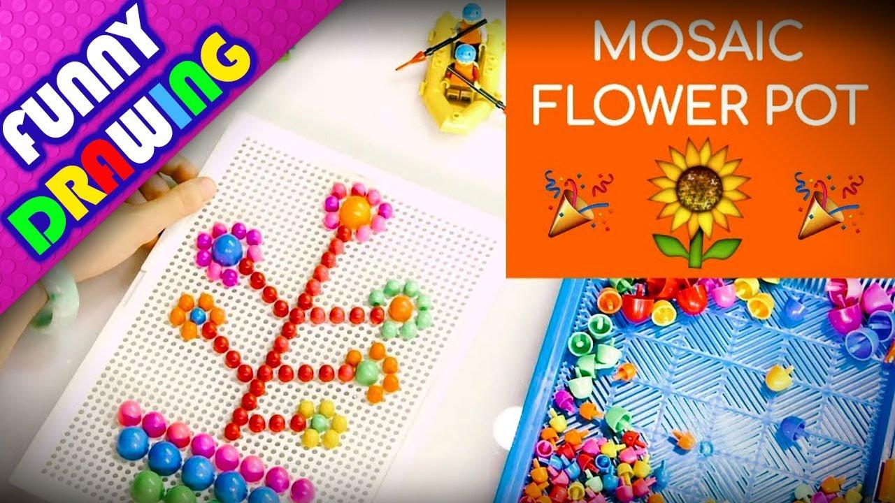 DIY - How to make a flowerpot with Creative Mosaic Toy - Dạy bé xếp hình chậu hoa