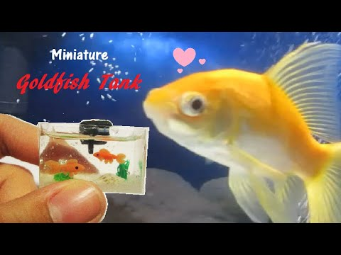 DIY Dollhouse Miniature Goldfish Tank with Filter - Polymer Clay / Resin Tutorial || MollysMiniStuff