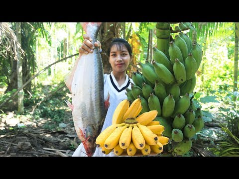 Yummy Cooking Big Fish With Banana Recipe - Cooking Skill