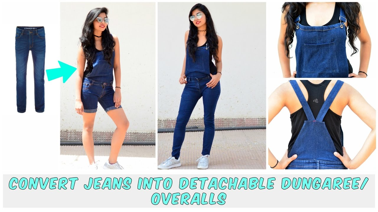 7a3d21ad3d0b DIY  Convert Old Jeans Into Detachable Dungaree Overalls( Shorts and ...
