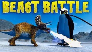 Beast Battle - Beating The King! - Dino Soccer & Shotgun Raptors - Beast Battle Simulator Gameplay