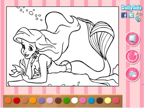 Ariel Coloring Pages For Kids Ariel Coloring Pages Free Youtube