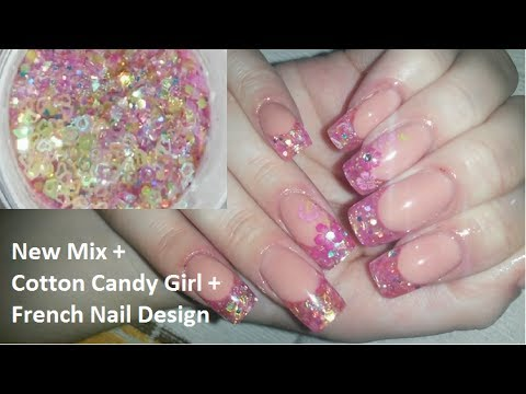 - New Mix + Cotton Candy Girl + French Nail Design - YouTube