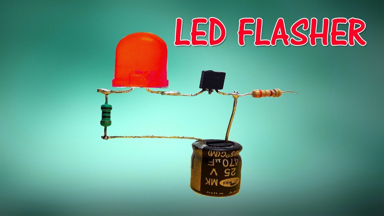 how to make simple led flasher using transistor [ 1280 x 720 Pixel ]