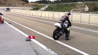 Johann Zarco entering track riding Moto3 bike