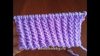 Вязание рельефной резинки спицами с 1го ряда