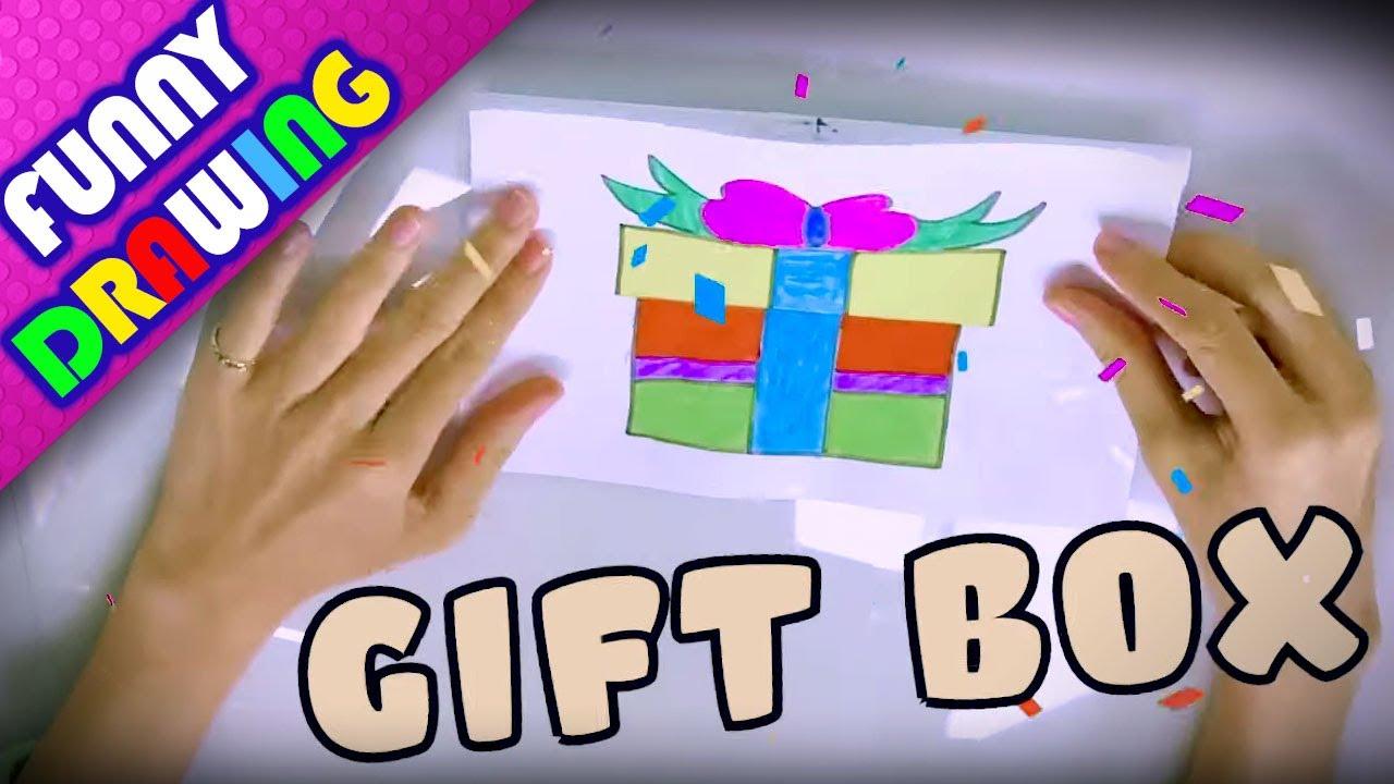 DIY - How to draw a Gift Box easy step by step - Dạy bé vẽ và tô màu hộp quà