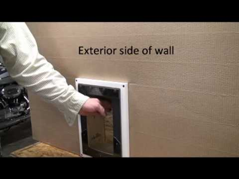 Step 3 How To Install A Pet Door Into An Exterior Wall Applying Pet Door To Wall Youtube