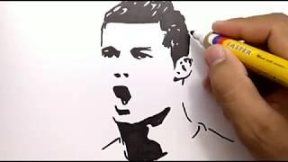 VERY EASY, how to draw CRISTIANO RONALDO / CR7