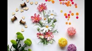 Видео: Вышивка лентами МК КОСМЕИ / Chamomile embroidered with satin ribbon