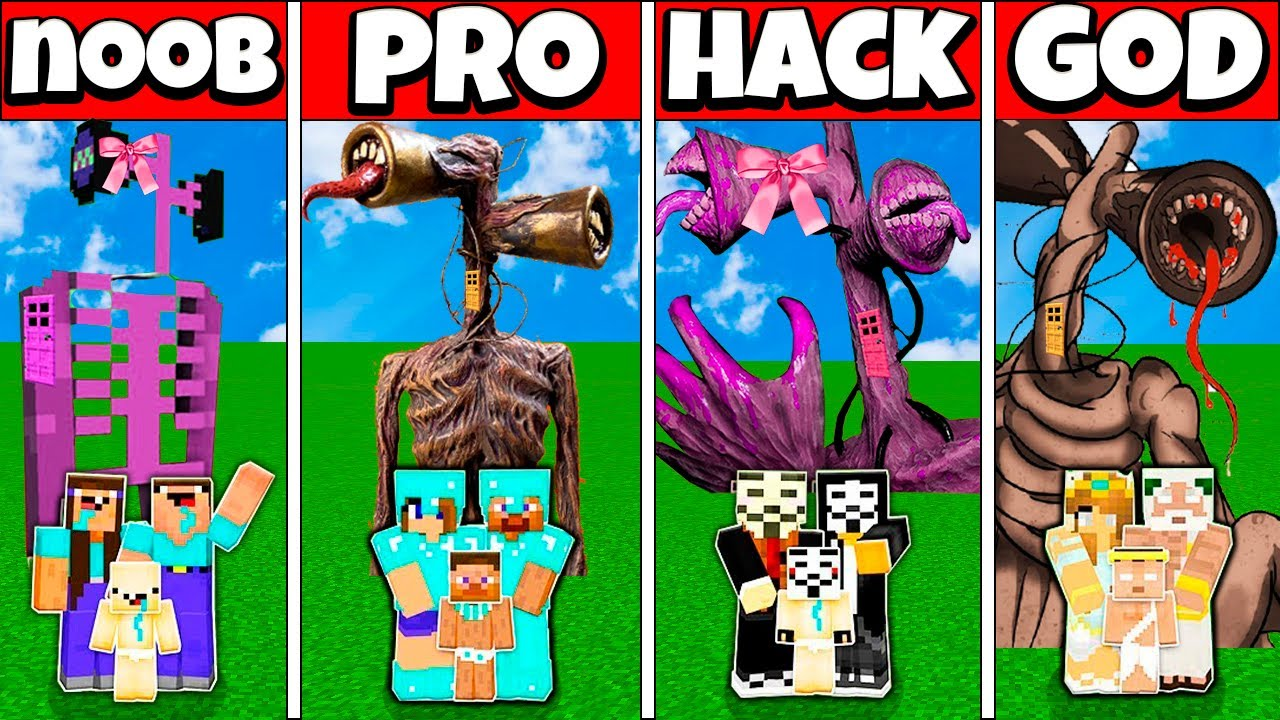 Minecraft Battle FAMILY SIREN HEAD GIRL HOUSE BUILD CHALLENGE NOOB vs PRO vs HACKER vs GOD Animation