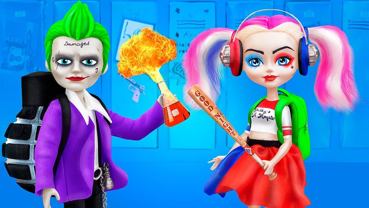 12 Manualidades Y Útiles Escolares Para Muñecas / Harley Quinn Y Guasón