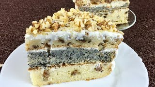 Трехслойный торт с маком, орехом и изюмом.