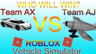 Roblox - Vehicle simulator COLLAB! w/ ax - Agera R vs Pittstunt Who will win?