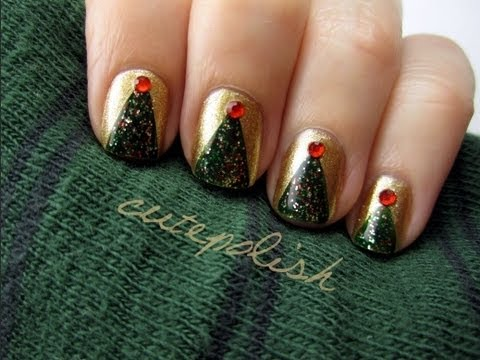 Christmas Tree Nail Art - YouTube