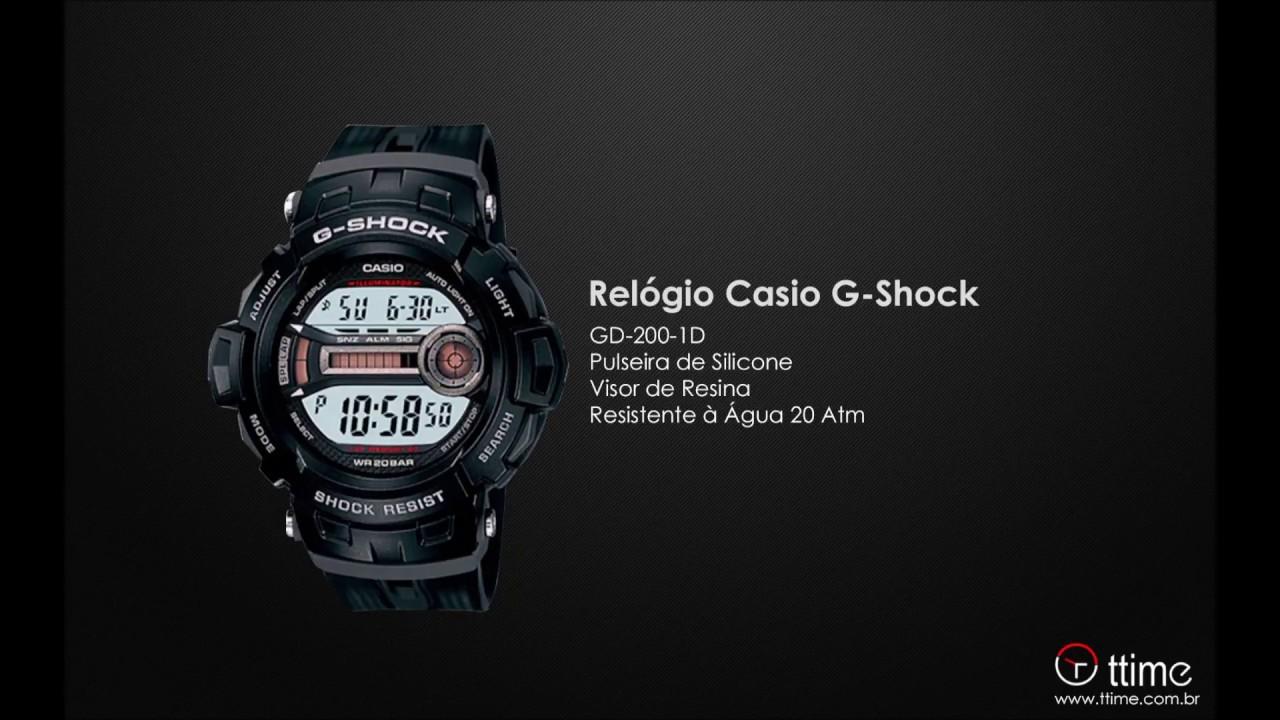 75241fc342a RELÓGIO CASIO G-SHOCK GD-200-1D + ILUMINAÇÃO LED E 3 ALARMES INDEPENDENTES