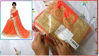 Party wear silk embroidery saree review and unboxing from amazon || embroidery saree