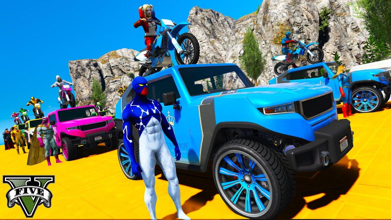 Homem Aranha e Amigos Desafio em Carros Motos Fora da Estrada! Spiderman Water Parkour Challenge
