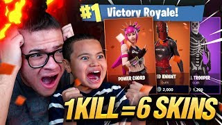 1 KILL = 6 FREE SKINS FOR MY 9 YEAR OLD LITTLE BROTHER! 9 YEAR OLD PLAYS SOLO FORTNITE BATTLE ROYALE
