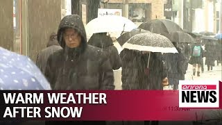 Warmer weather expected after rain and snow nationwide