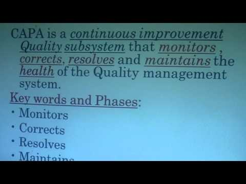MODULE TWO: THE ROLE OF CAPA IN A QUALITY SYSTEM  DEFINED