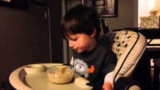 Eating oatmeal with Dino eggs
