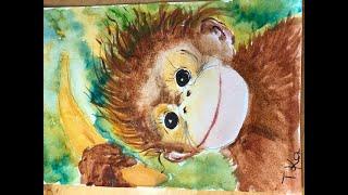 Уроки рисования для детей и взрослых. Обезьянка. Рассказ о Ханумане- Индийском обезьяньем боге.