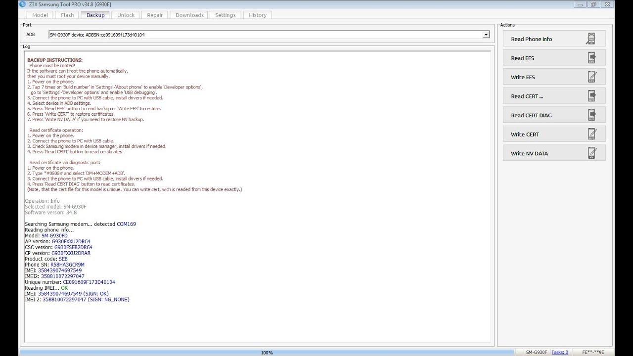 samsung g930f u2 repair imei done s7 write cert nougat – frp done