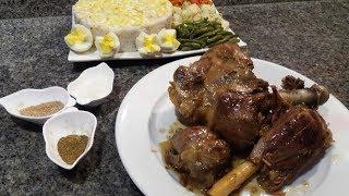 لحم مشوي محمر في كوكوط بدون زيت أو ماء ساهل ولذييذ + سلطة خضر