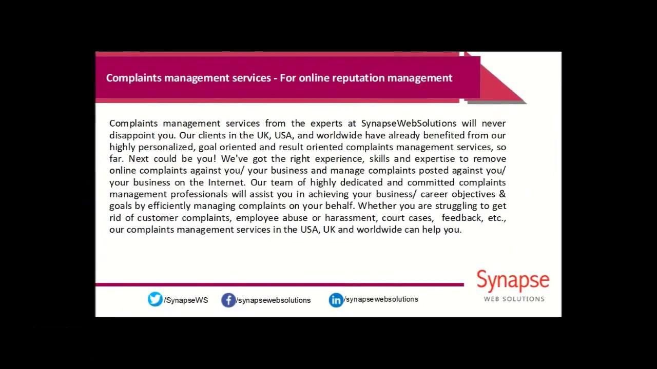 SynapseWebSolutions - Complaints management services