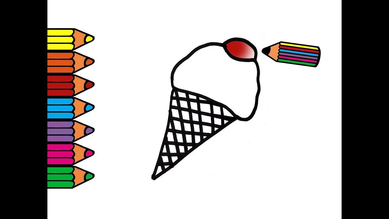 Como Dibujar Y Colorear Helados: Como Dibujar Y Colorear Un Helado De Cucurucho Multicolor